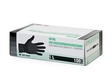 Nitrilhandschuhe 100 Stück Box (L, Schwarz) Einweghandschuhe, Einmalhandschuhe, Untersuchungshandschuhe, Nitril Handschuhe, puderfrei, ohne Latex, unsteril, latexfrei, disposible gloves, black, Large - 2