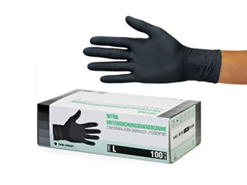 Nitrilhandschuhe 100 Stück Box (L, Schwarz) Einweghandschuhe, Einmalhandschuhe, Untersuchungshandschuhe, Nitril Handschuhe, puderfrei, ohne Latex, unsteril, latexfrei, disposible gloves, black, Large - 1