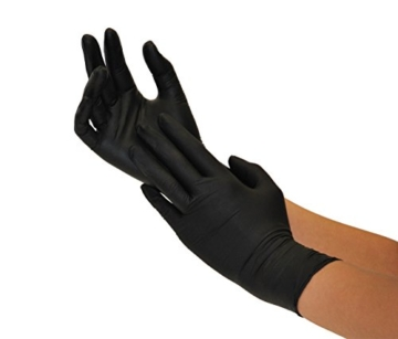 Nitrilhandschuhe 100 Stück Box (L, Schwarz) Einweghandschuhe, Einmalhandschuhe, Untersuchungshandschuhe, Nitril Handschuhe, puderfrei, ohne Latex, unsteril, latexfrei, disposible gloves, black, Large - 6